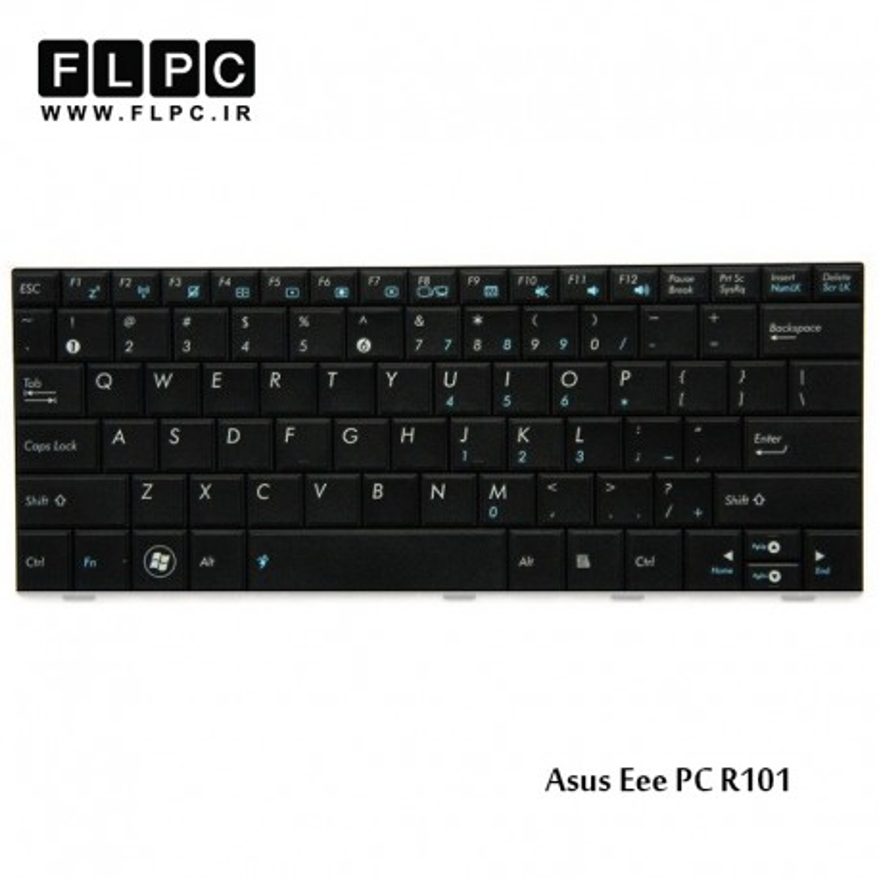 کیبورد لپ تاپ ایسوس Asus Laptop Keyboard Eee PC R101 مشکی-بدون فریم-فلت باریک