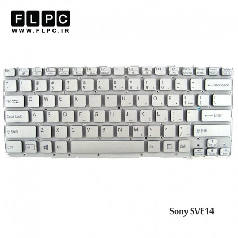 کیبورد لپ تاپ سونی Sony Laptop keyboard SVE14 سفید-اینتر کوچک-بدون فریم