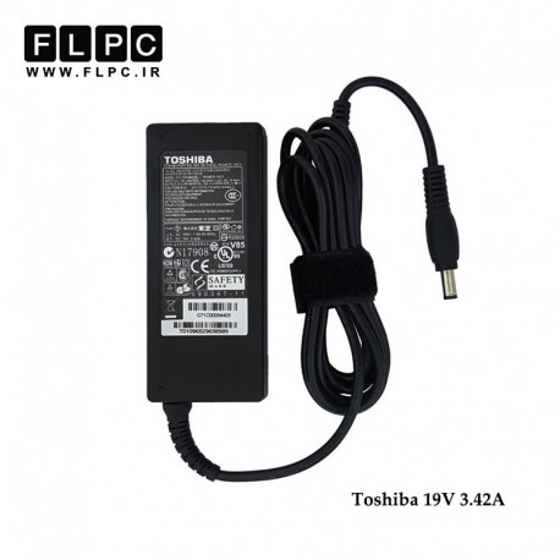 آداپتور لپ تاپ توشیبا 19ولت 3.42 آمپر 65 وات / Toshiba Laptop Adaptor 19V 3.42A 65W